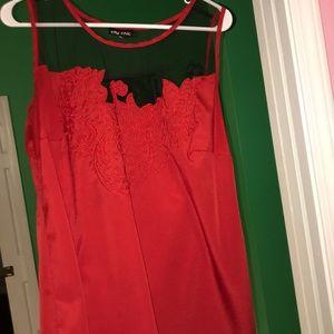 Red silk cami
